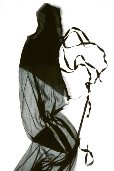 Halbes Kleid, Seidenjersey und Chiffon